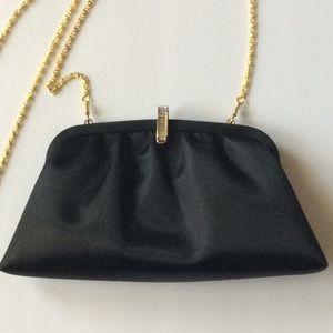 Beautiful Newman Marcus black satin evening bag